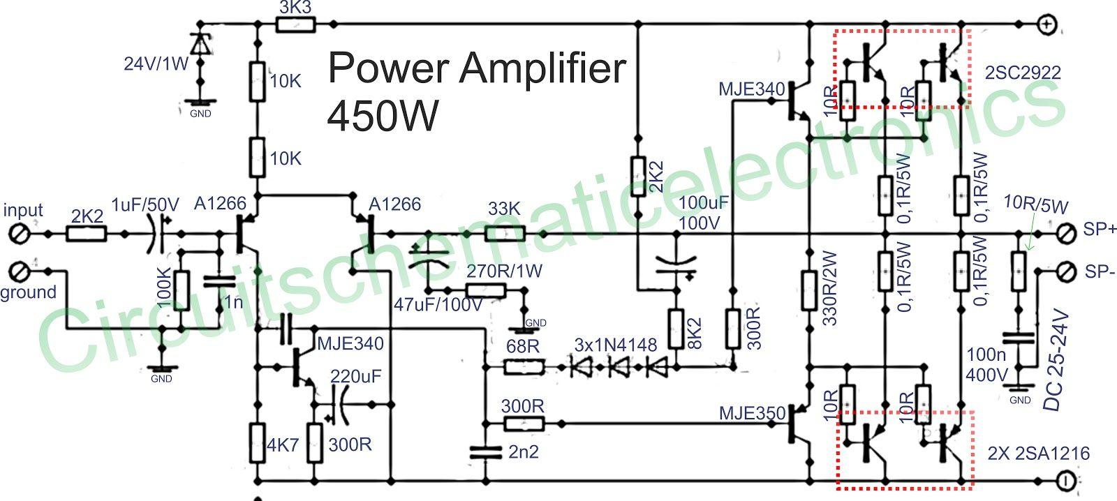 power amplifier 450w with sanken [ 1600 x 718 Pixel ]