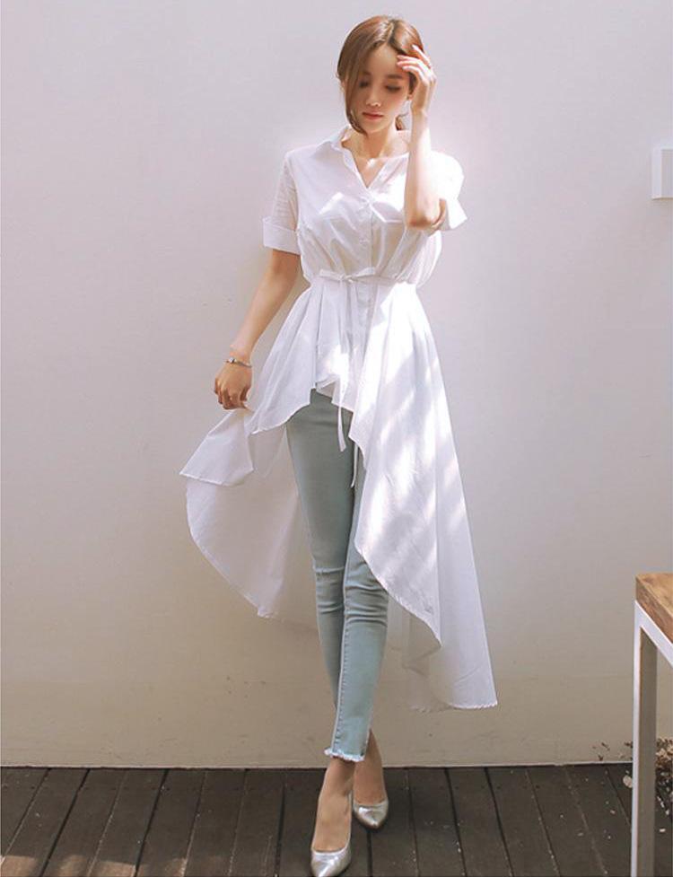 Women Short Sleeve Turn Down Collar Hi Low Shirt Dress Casual White ...