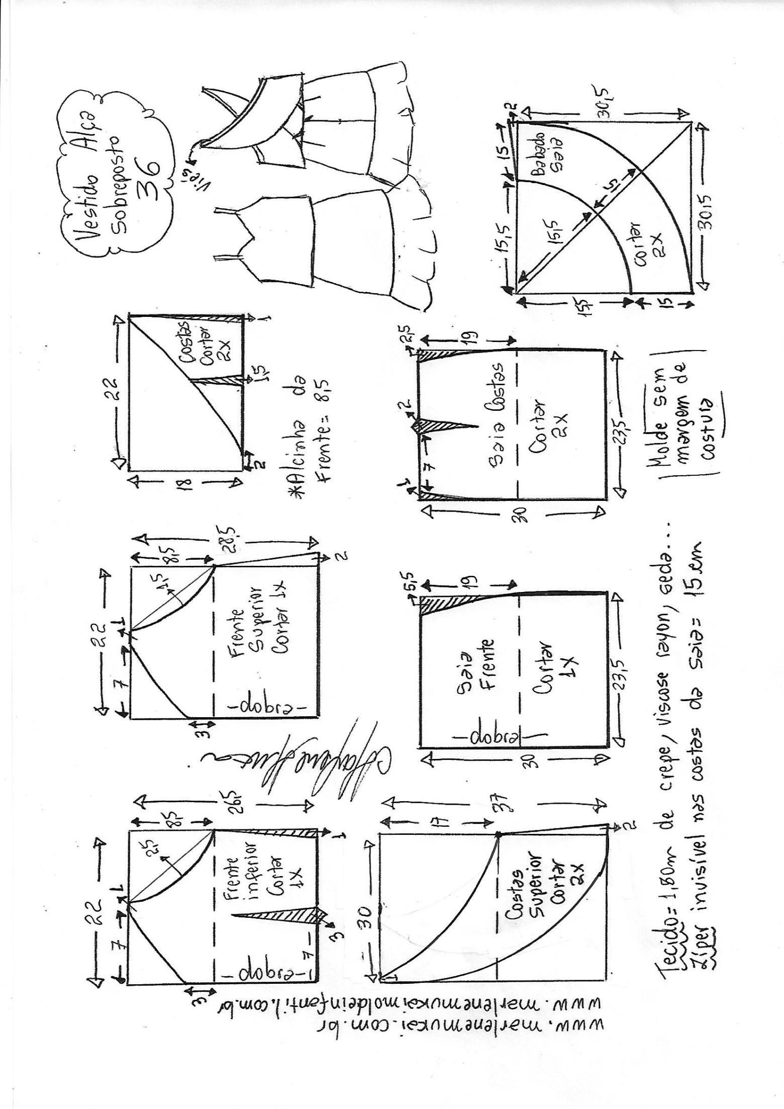 Vestido alcinha sobreposição peplum | DIY - molde, corte e costura ...