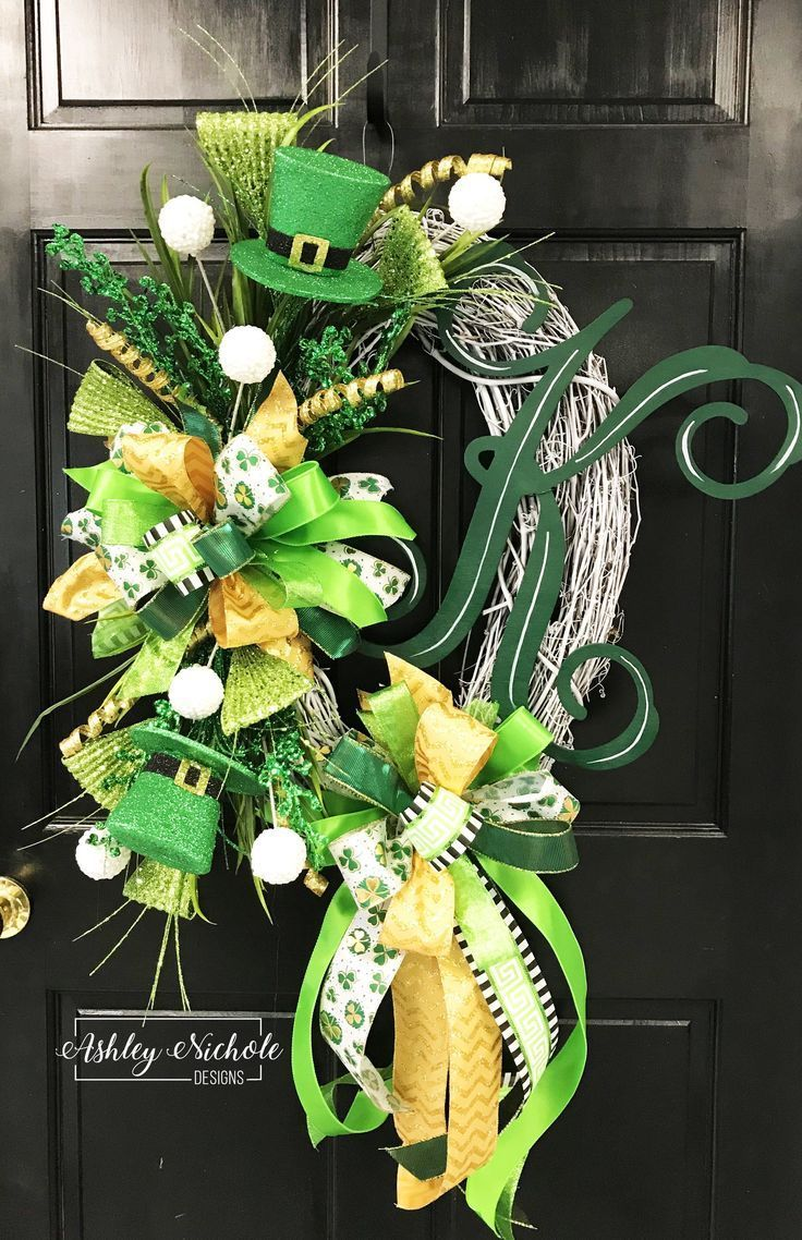 St. Patrick's Day Initial Wreath,  #Day #Initial #ovalgrapevinewreathideasspring #Patricks #wreath