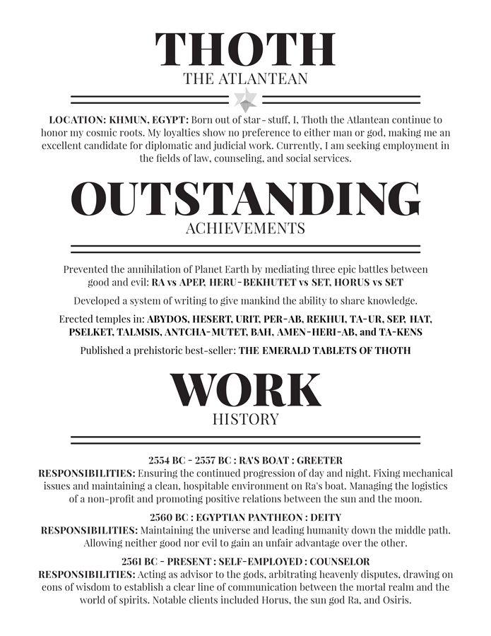 THOTHRESUME Resumes Pinterest Professional resume and Badass