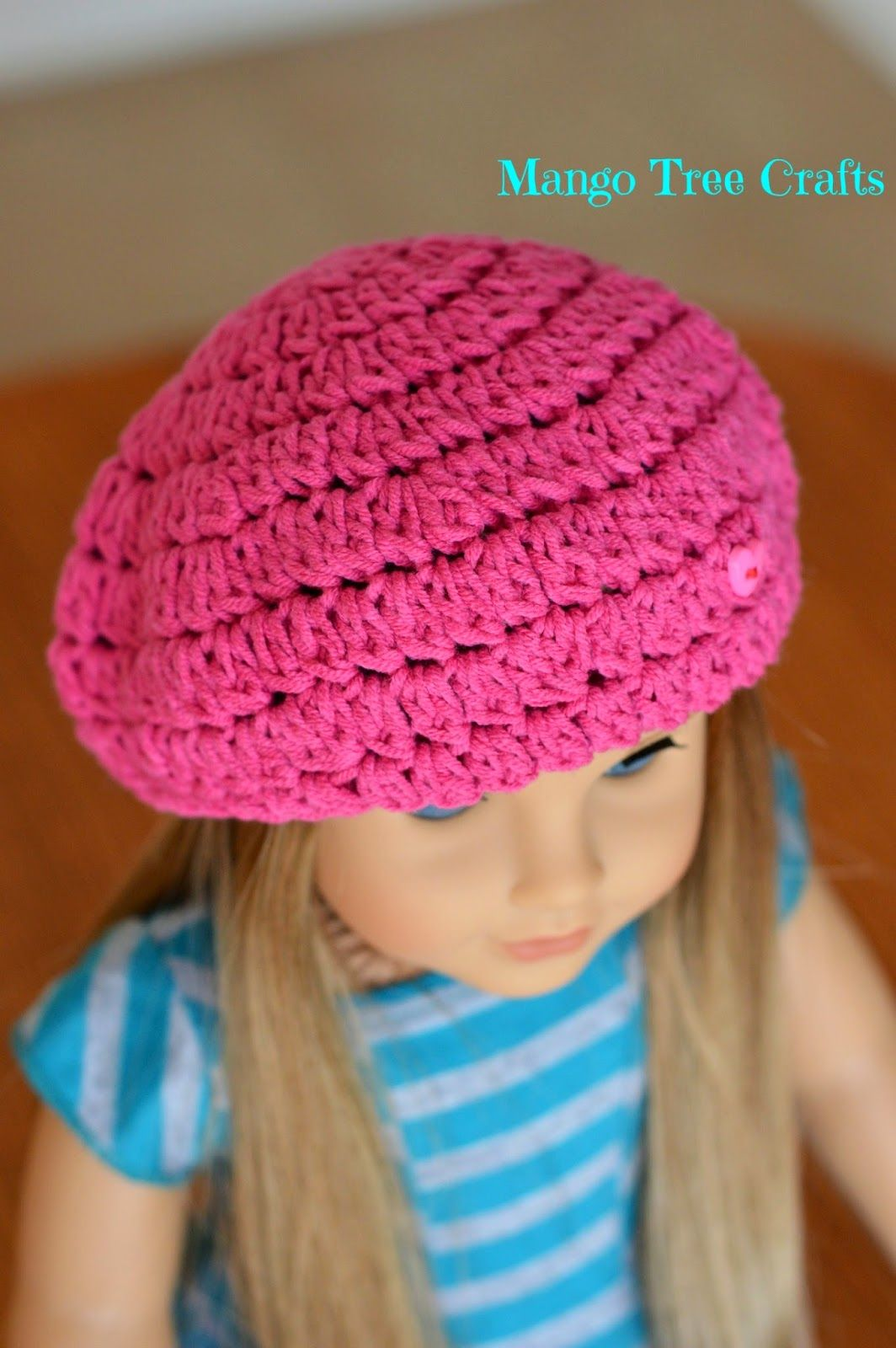 "Mango Tree Crafts: Crochet Beret Hat Pattern for 18"" American Girl Doll"