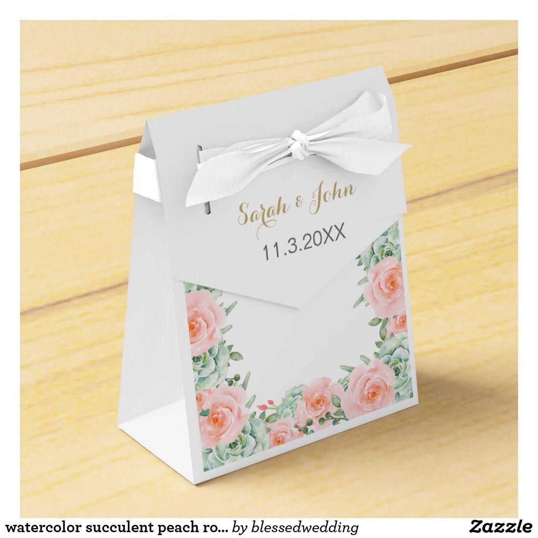 Watercolor succulent peach roses wedding favor box | Watercolor ...