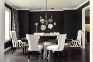 According To Comment This Matte Black Paint Color Is Sherwin Williams Caviar Flat Black And White Dining Room Black Dining Room Dining Room Walls