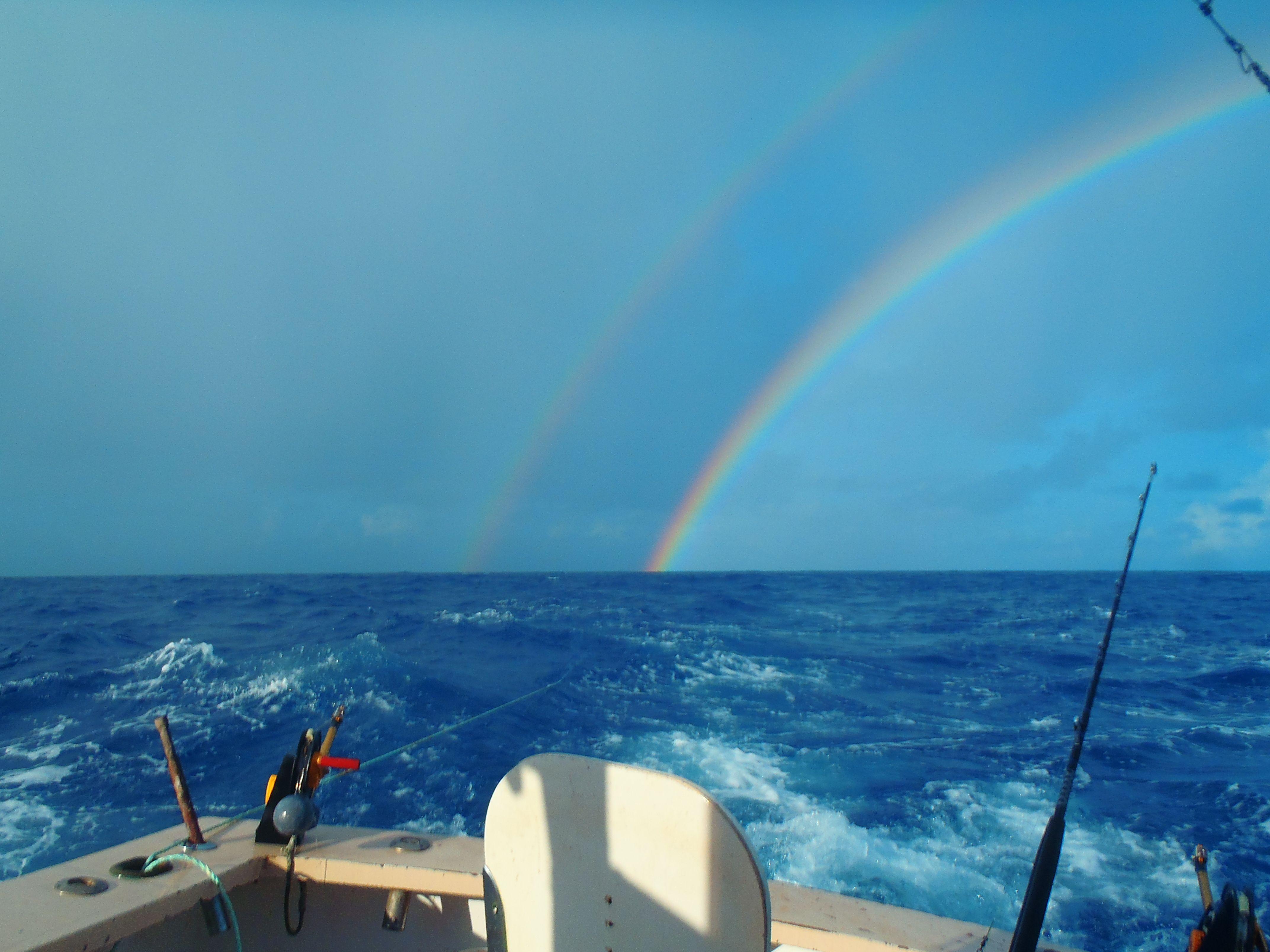 Double rainbow out deep sea fishing in Bermuda.