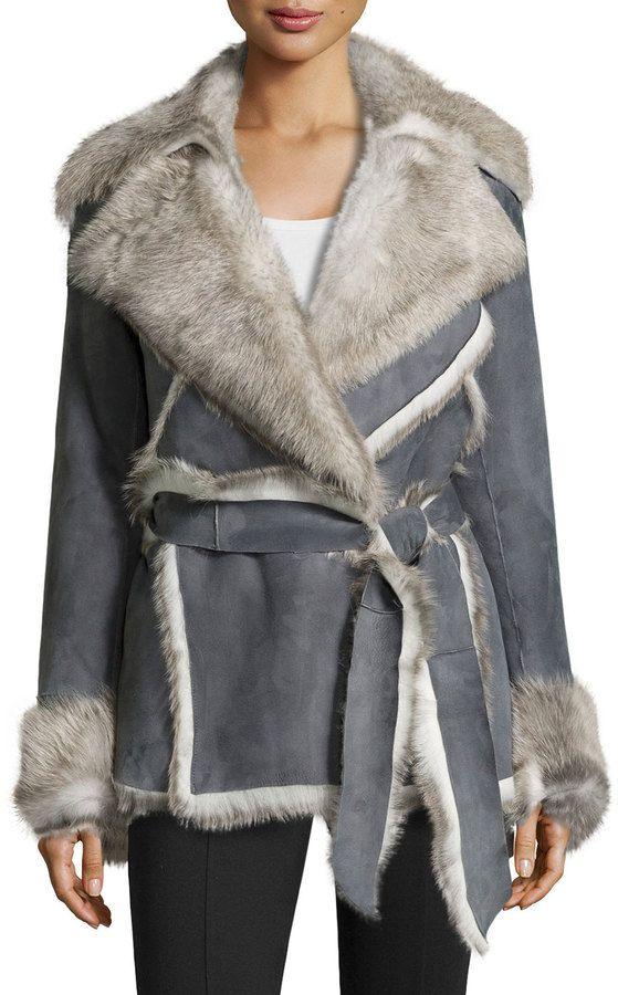 23a08e1157923 Lafayette 148 New York Cori Suede & Shearling Fur Coat on shopstyle.com