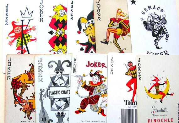 10 Jokers Clowns Playing Cards Lot Of Jokers Joker Etsy Joker Card Joker Clown Cards