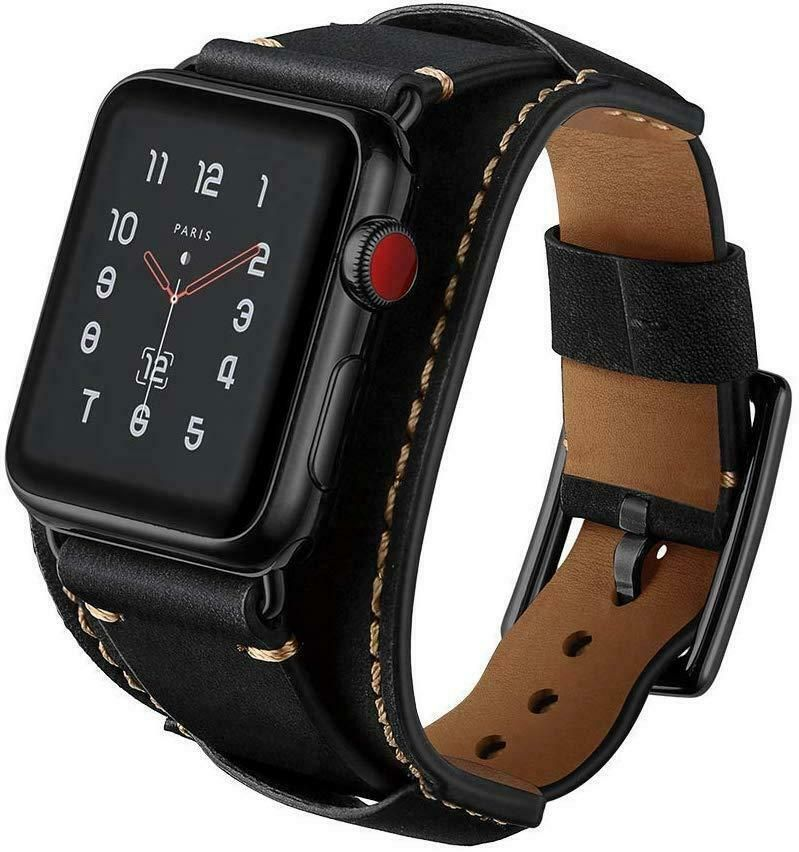 Details about Black Leather Strap Compatible with Apple