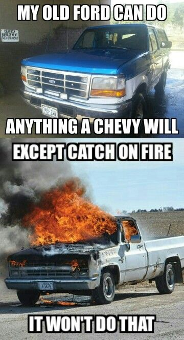 Bronco Ford Vs Chevy Meme Ford Pinterest Ford Chevy And Ford