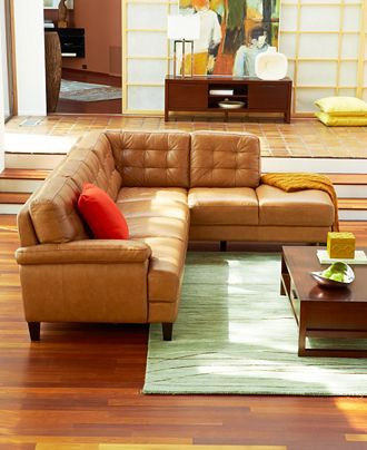 camel colored sectional tufted sofa + chaise. Usually I hate ...