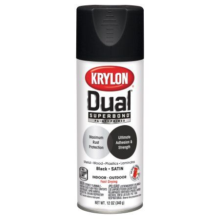 Krylon Dual Superbond Paint Primer Satin Black Spray Paint 12