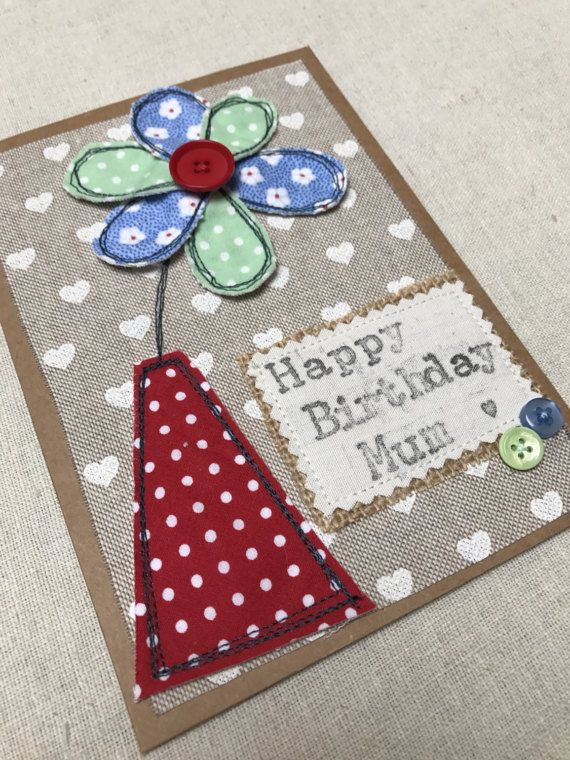 Flower appliqu card mothers day birthday card decorative fabric flower appliqu card mothers day birthday card decorative fabric quilted greeting cards pinterest brown envelopes postage prices and poly bags m4hsunfo