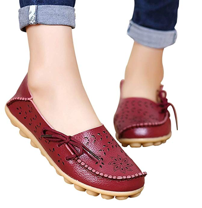 SHOESE Loafers Leather Womens Shoes Comfortable Ladies Casual Moccasins Wild Breathable Driving Flats,Black