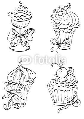 Cupcakes Drawing Pesquisa Google Dessins Noir Et Blanc