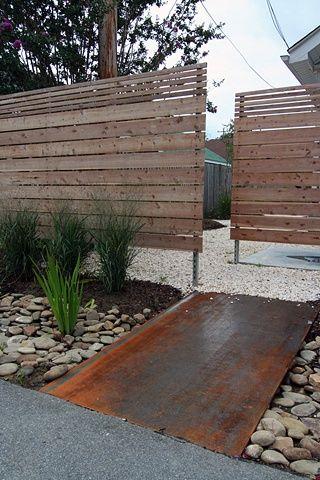 Maria Lopez Ibanez Steel Bridge + Cedar Fence Culvert planted with