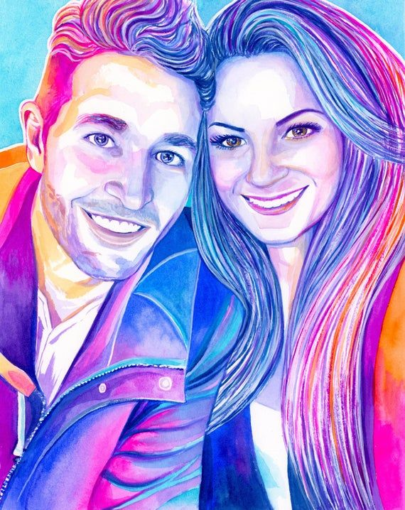 Custom couples watercolor portrait, Unique Christmas gifts for husband Christmas gift, Romantic Christmas gift for wife Christmas gift ideas