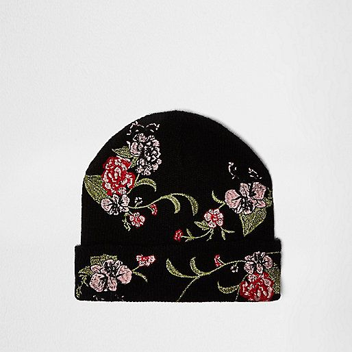 Black floral embroidered beanie - hats - accessories - women