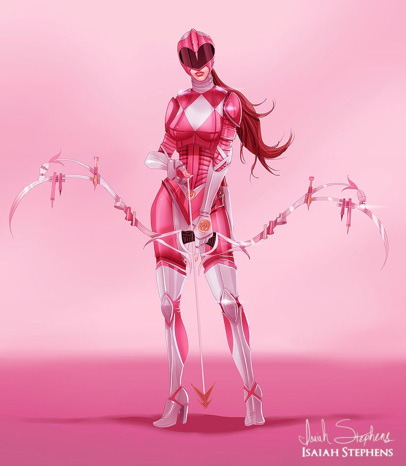 redesign pink power ranger with weapon bow and arrow toons fan