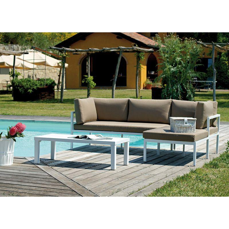 Ensemble Jardin De Canape Meridienne En Alu Coloris Blanc Avec Table 36moi Set22 Outdoor Furniture Sets Outdoor Sofa Outdoor Furniture