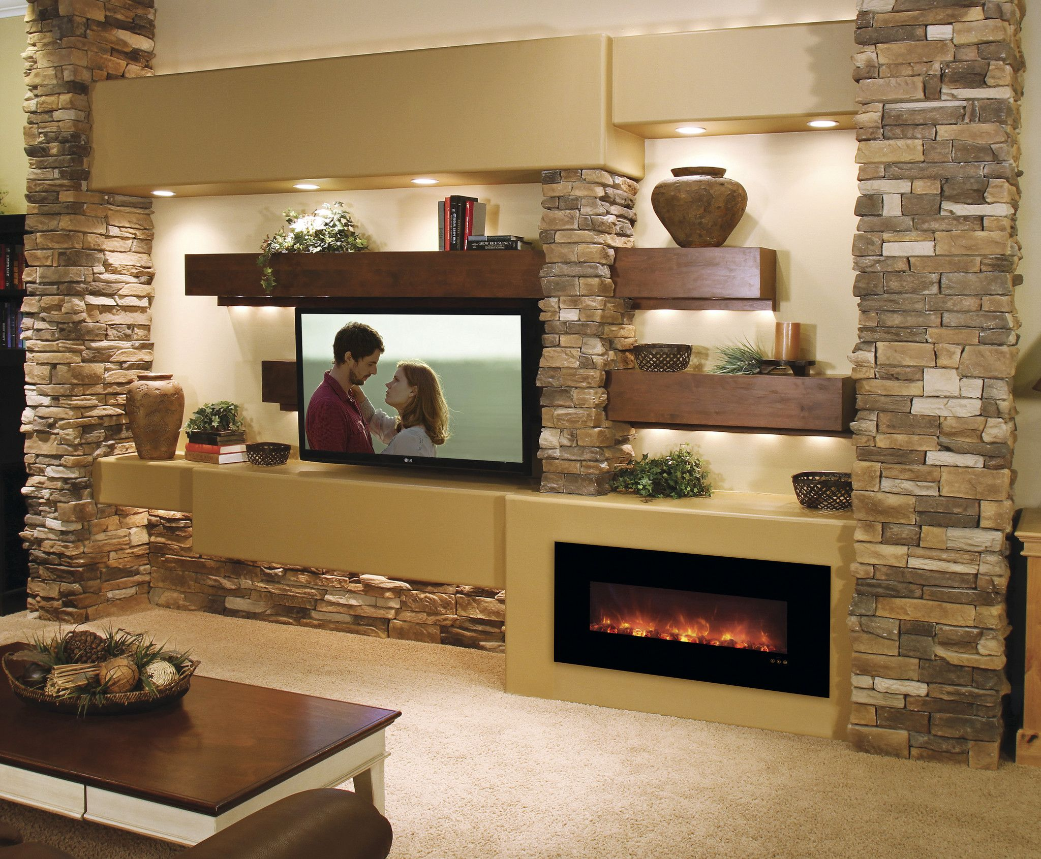 Modern Flames 43 Built inWall Mounted Electric Fireplace No