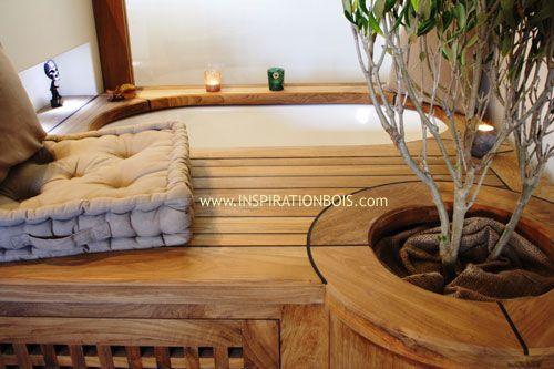 baignoire encastr e avec plage estrade en teck pont de. Black Bedroom Furniture Sets. Home Design Ideas