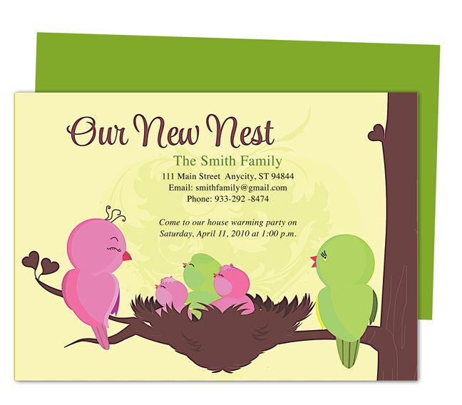cute bird in nest moving announcement card templates for new address