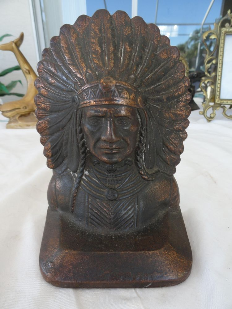 Old Antique Cast Iron Indian Chief Head Doorstop Bookend