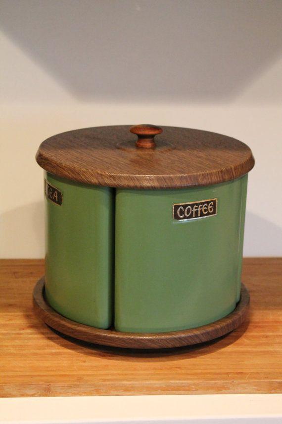 Vintage Canister Set On Lazy Susan Housewares Stoage Flour Sugar Tea Coffee 1960 S Etsy 40 00