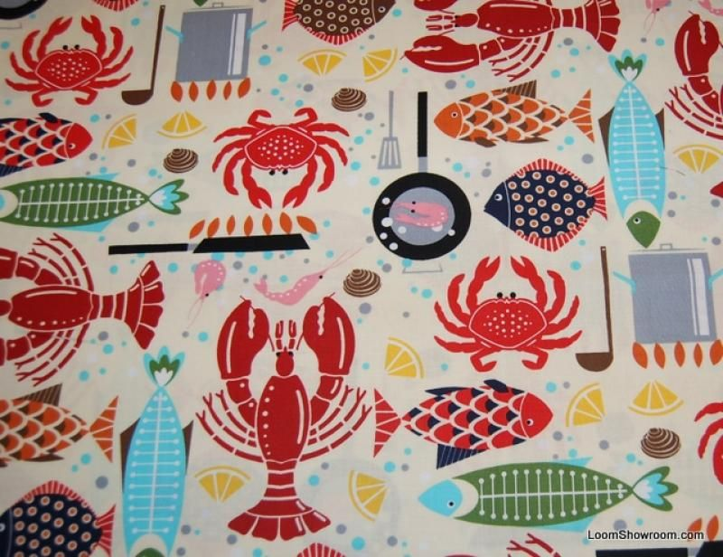 Fish Lobster Crab Sealife Modern Retro Cotton Fabric Quilt