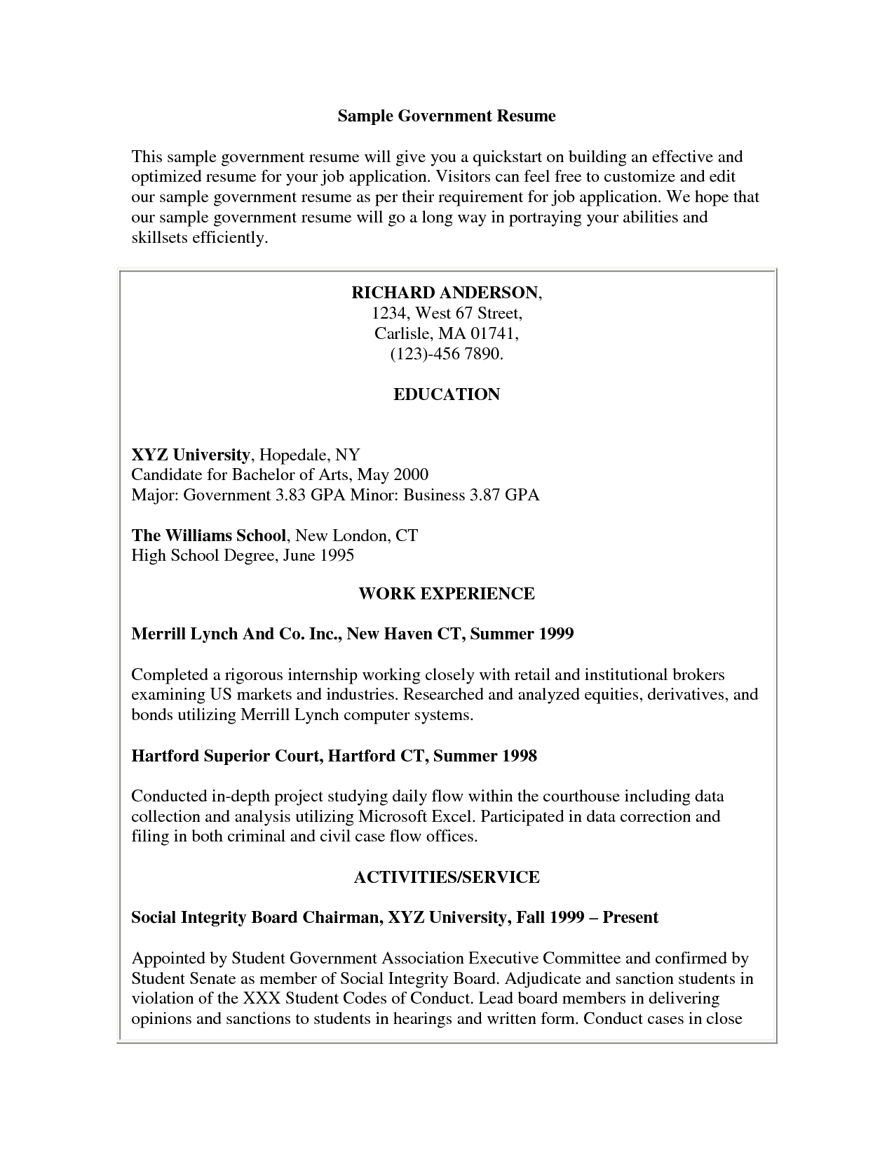 Free Resume Templates For Government Jobs Job Resume Examples