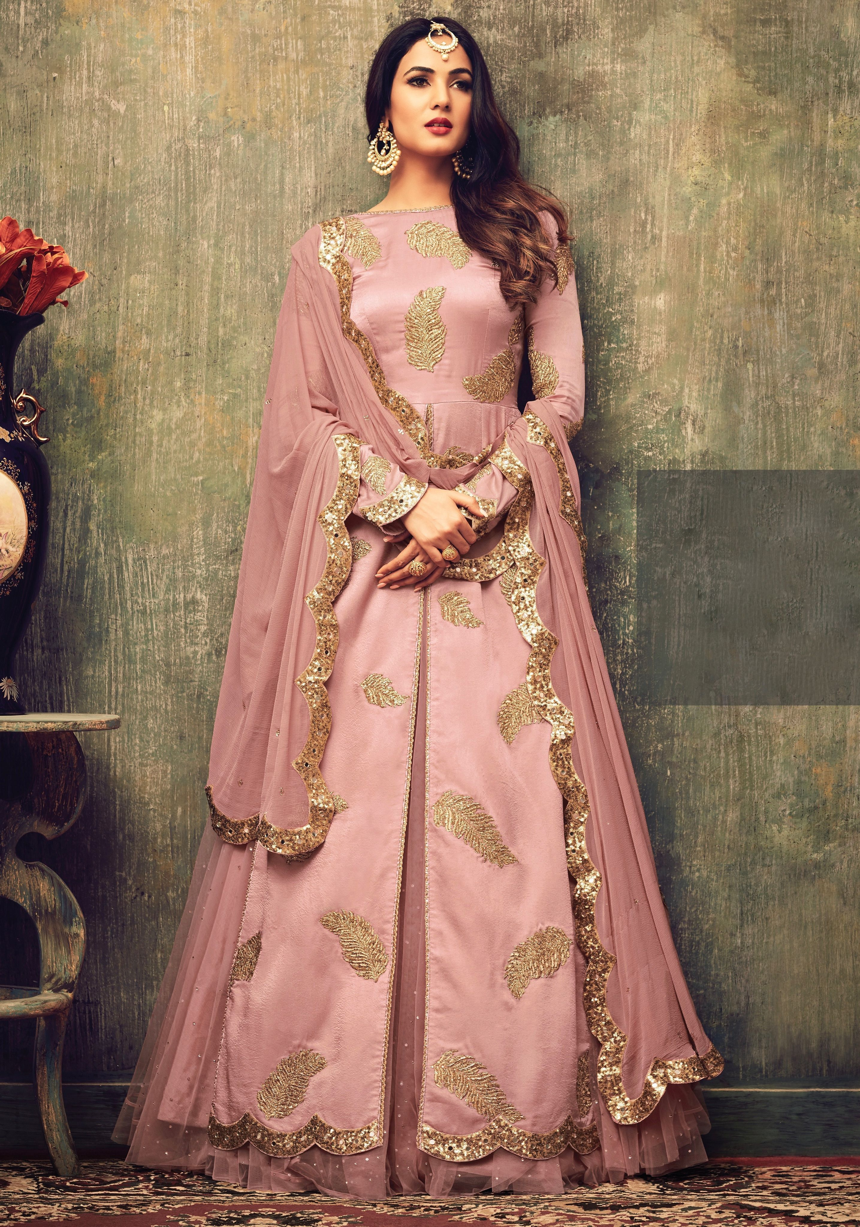 ebc29eb87e Buy Sonal chauhan pink net rangoli party wear pant suit 4701 online in USA,  UK and Canada from KollyBollyEthnnics.com