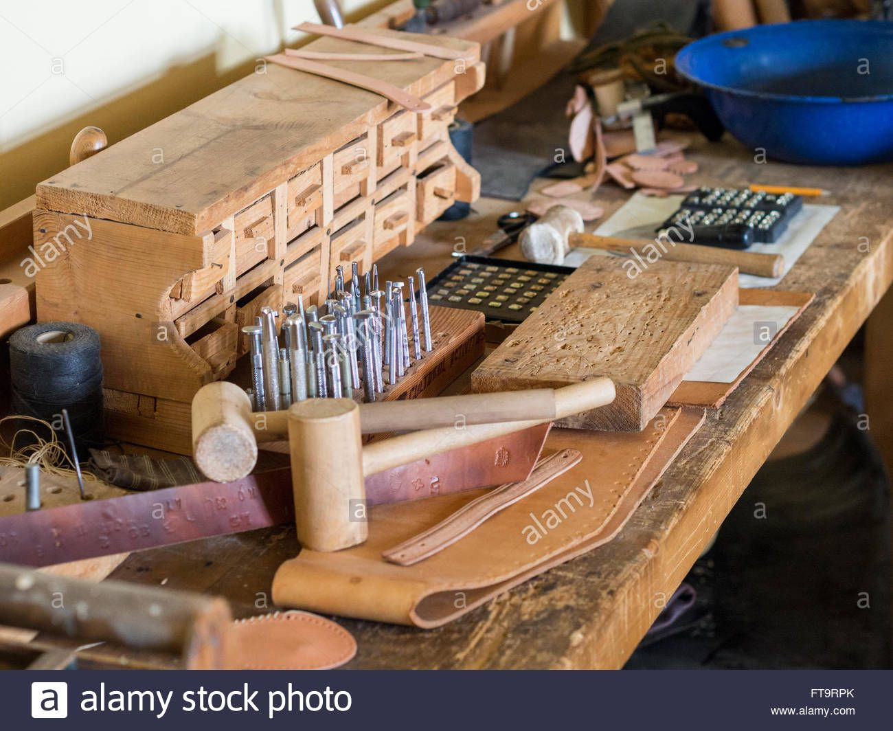 Download This Stock Image Cobbler S Workbench A Wooden