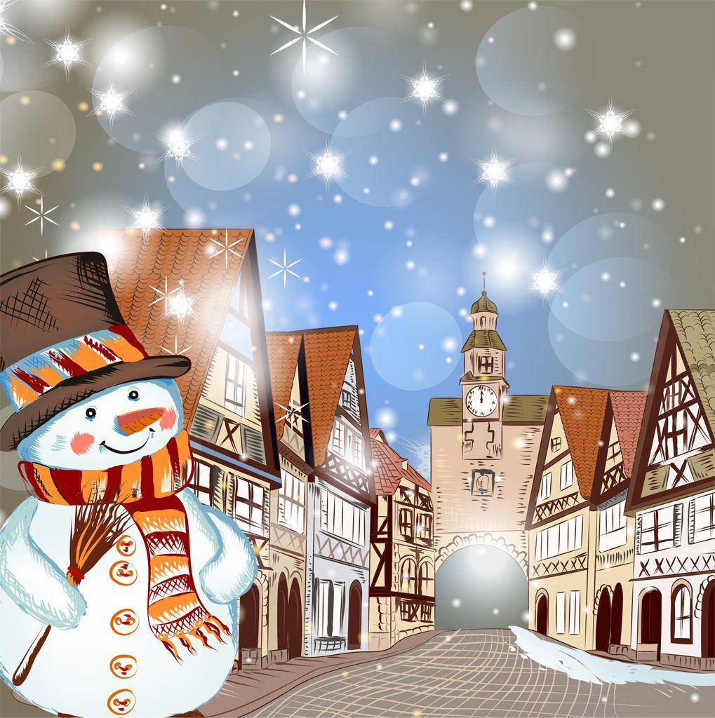 フリーイラスト素材 イラスト 風景 雪だるま 冬 雪 都市 街