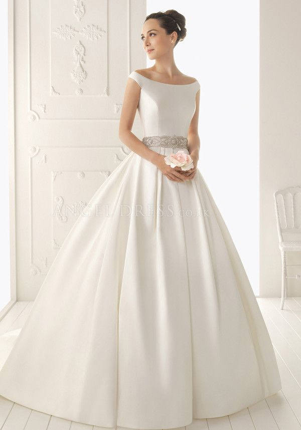 Ball gown off the shoulder satin floor length chapel train for Off the shoulder satin wedding dress