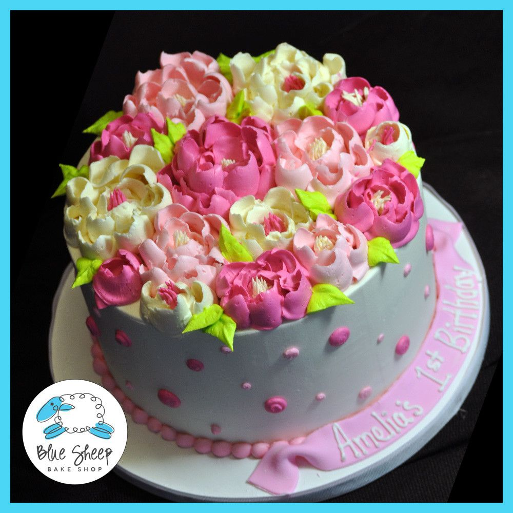 Buttercream Polka Dots And Flowers Birthday Cake Cakes Decorating