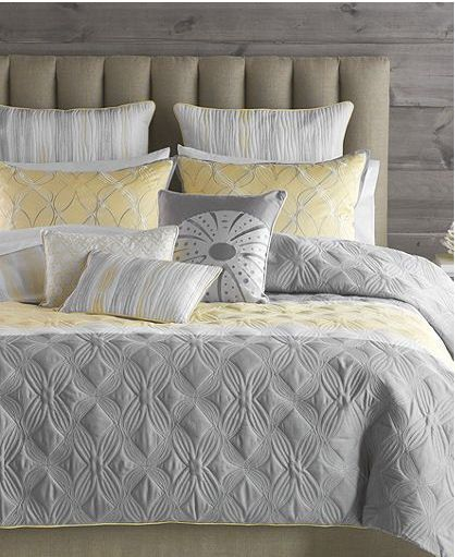 Bryan Keith Tango Grey Yellow White 7 Piece Twin Comforter Set
