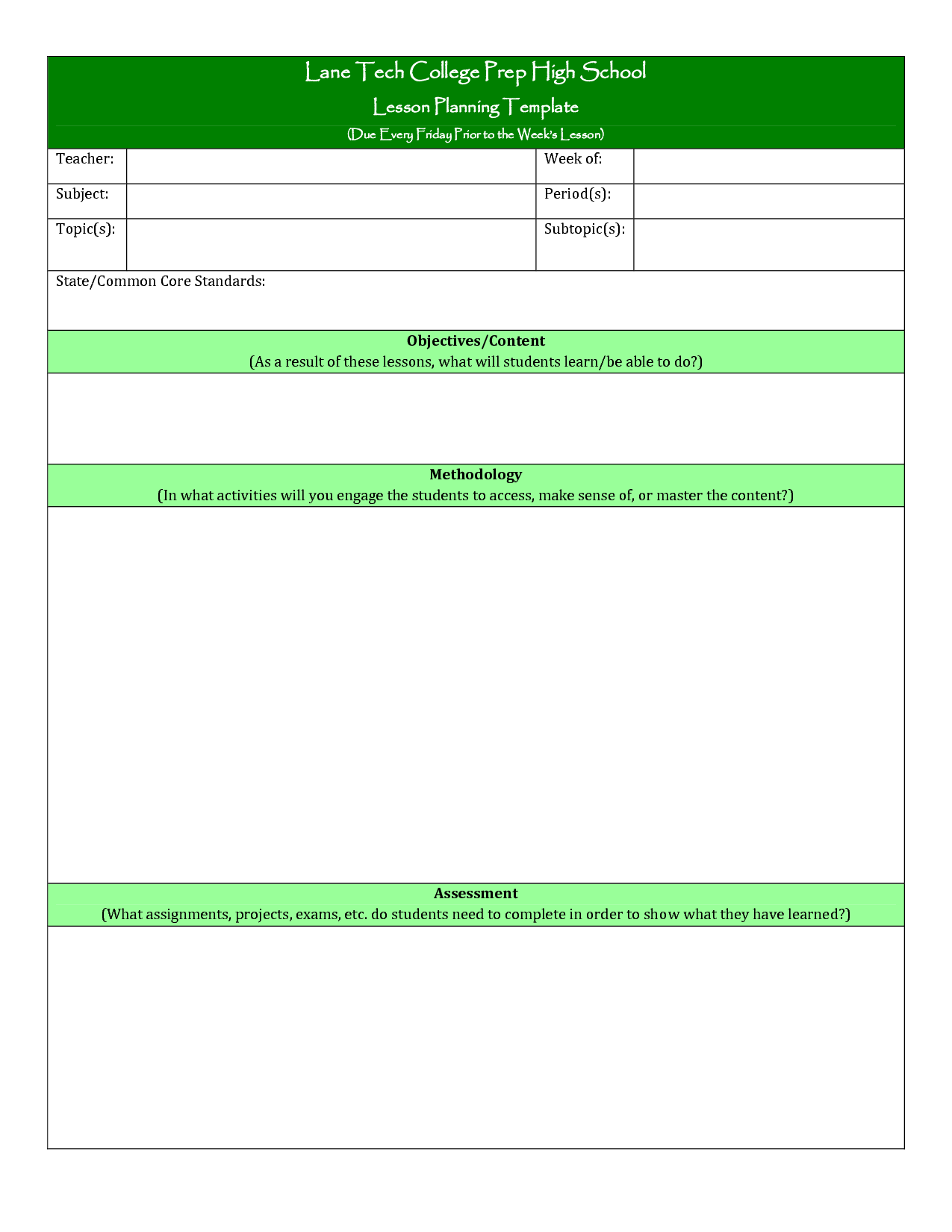 college lesson plan template