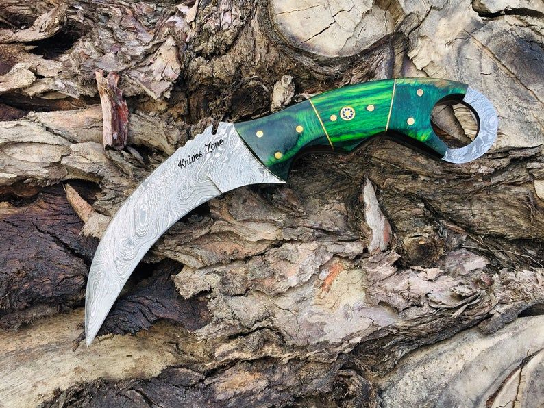 Custom Handmade Damascus Steel Karambit Knife In 2020 Damascus Steel Karambit Knife Karambit