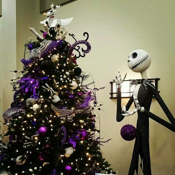 jack skellington and a spooky christmas tree nightmare before christmas halloween black and purple - Black Halloween Tree