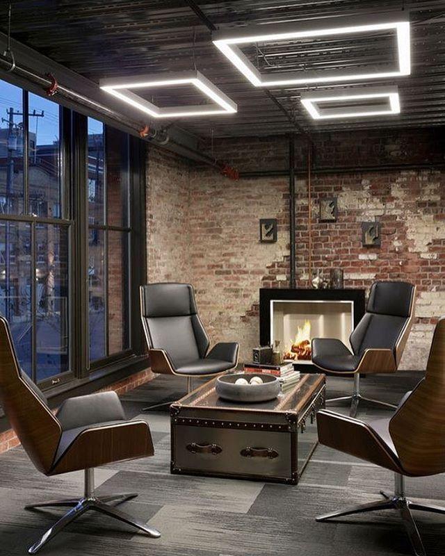 Instagram Modern Office Interiors Industrial Office Design
