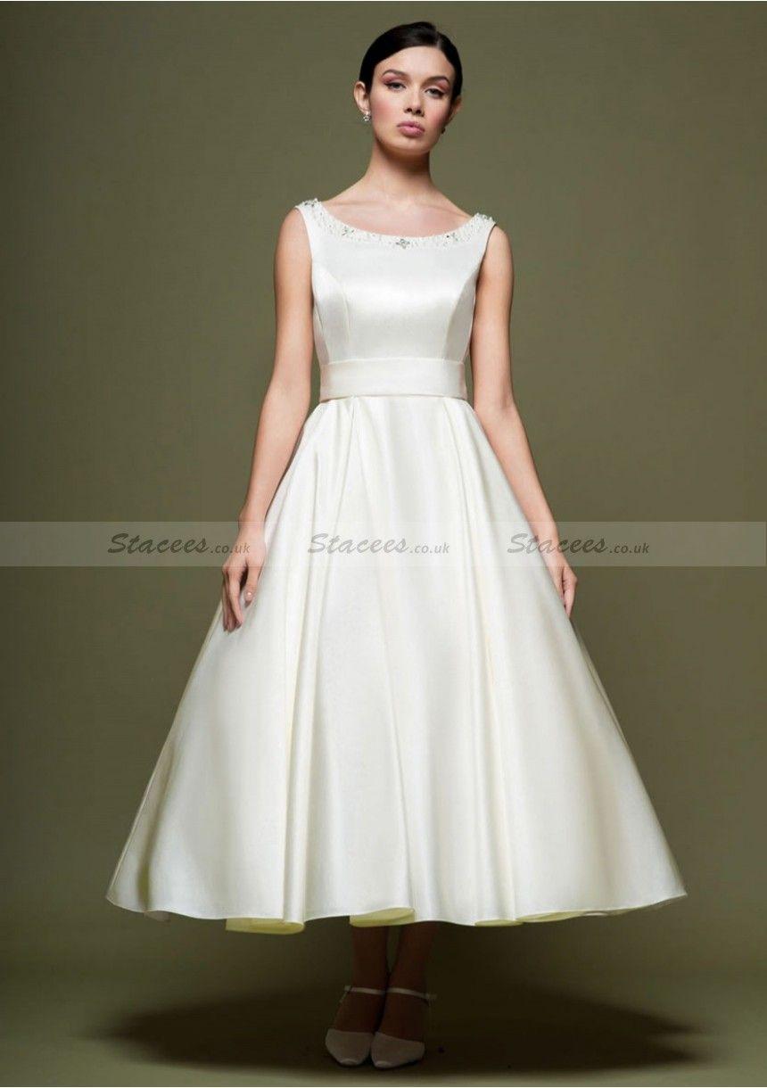 Bateau Tea Length Wedding Dresses