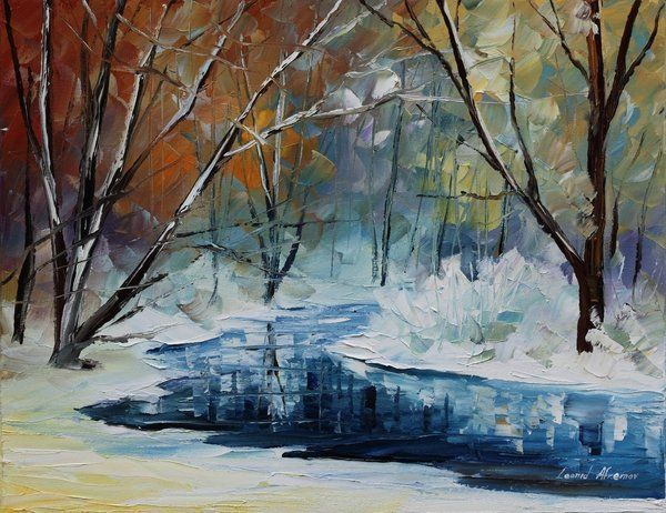 Lost In Winter - Palette Knife Oil Painting On Canvas By Leonid Afremov Print By Leonid Afremov