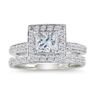 Princess Cut 1ct Diamond Bridal Set in 14k White Gold