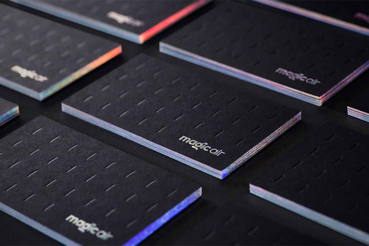 Visual identity and holographic foil business cards for Magic Air by ...
