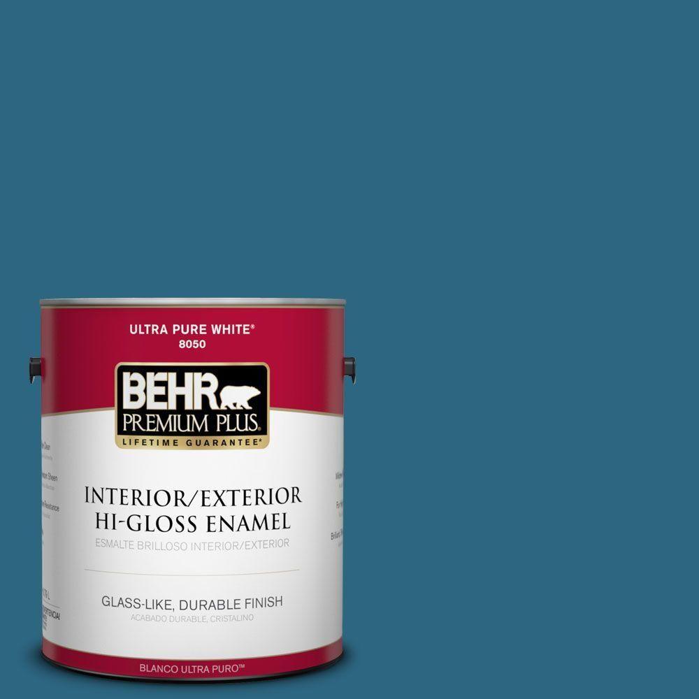 BEHR Premium Plus 1-gal. #M480-7 Ice Cave Hi-Gloss Enamel Interior/Exterior Paint