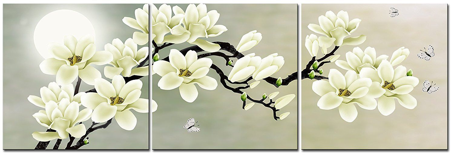 White Magnolia Flower Wall Art Picture Print Canvas Framed Home Hang Decor Gift Flower Wall Art Family Wall Decor Home Decor