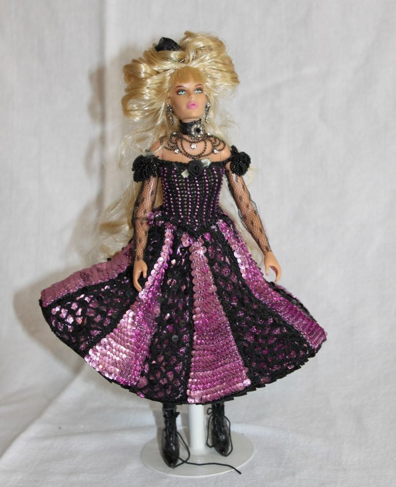 "12"" OOAK Barbie? Saloon Can-Can Doll Crocheted and Sequined, Beaded Gown & Hat"