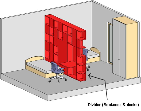 Divide room with bookcase spaces pinterest room bedrooms and divider - How to divide living room ...