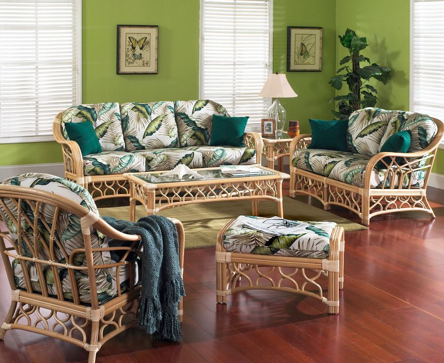 Rattan Furniture Set Of 5 Tigre Bay, Tropical Wicker Furniture