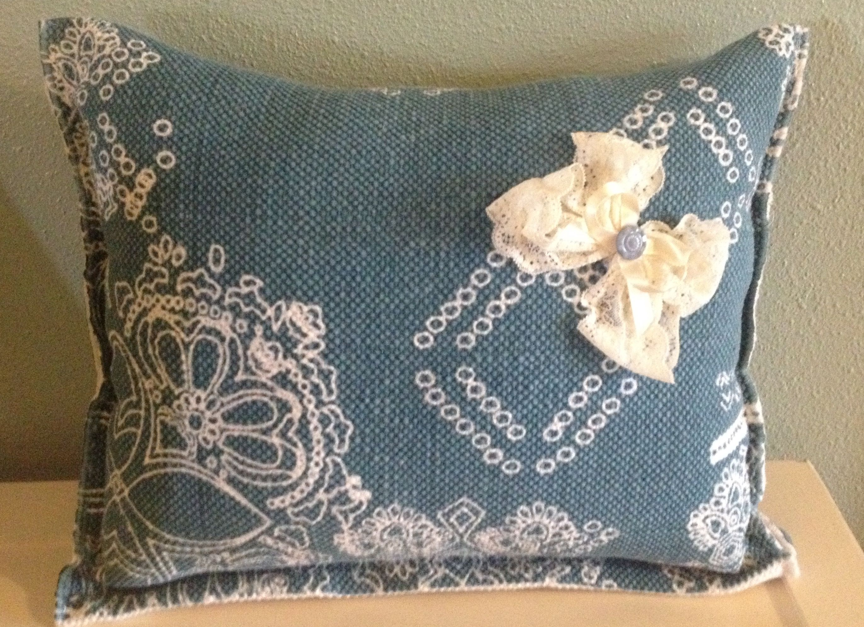 Cottage Chic Shabby Chic Handmade Pillow Throw Pillows Turquoise